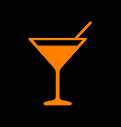 cocktail sign orange icon on black vector image
