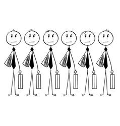 Conceptual cartoon identical businessmen or vector