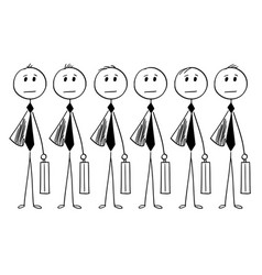 Conceptual cartoon of identical businessmen or vector