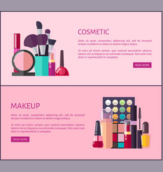 Cosmetic and makeup promotional internet pages vector