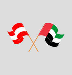 Crossed and waving flags austria and united vector