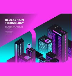 cryptocurrency isometric concept blockchain and vector image