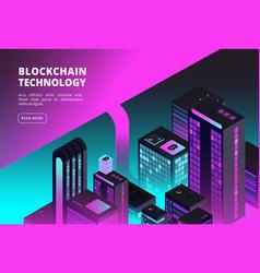 cryptocurrency isometric concept blockchain vector image