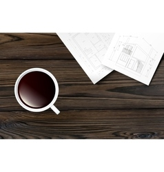 Cup of coffee on a wooden table vector image