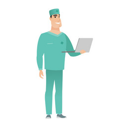 doctor using laptop vector image