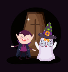 dracula ghost and coffin halloween vector image