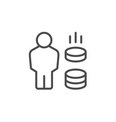 Earnings line outline icon and money sign vector