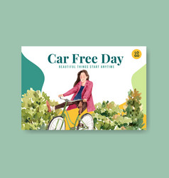 facebook template with world car free day concept vector image