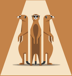 Family of meerkats is basking in the sun vector