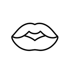 female lips mouth icon on white background thick vector image