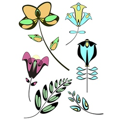 flowers decor collection vector image