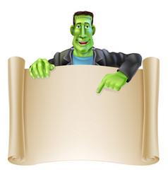 frankenstein halloween sign scroll vector image