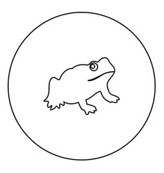 frog black icon in circle outline vector image