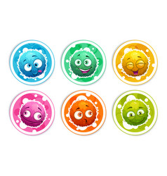Funny bright round stickers with cartoon fluffy vector