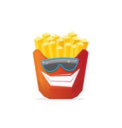 Funny cartoon french fries potato box vector