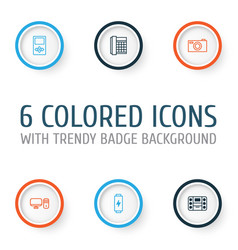 Gadget icons set collection of player charge vector