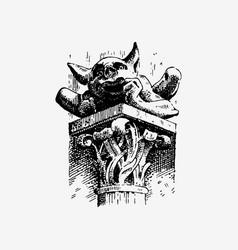 Gargoyle chimera of notre-dame de paris engraved vector