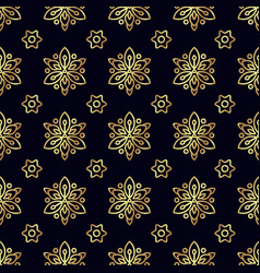 Gold flower seamless pattern vector