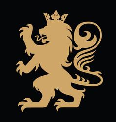 gold lion king heraldic with crown logo template vector image