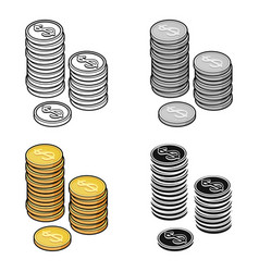 golden coins icon in cartoon style isolated on vector image