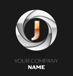 golden letter j logo symbol in the circle shape vector image