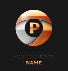 Golden letter p logo in the golden-silver circle vector