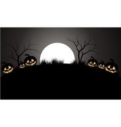 Halloween pumpkins scary and moon vector