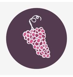 Hand-drawn grape ripe icon vector