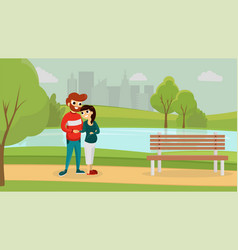 happy man and woman in the park vector image