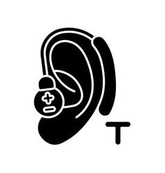 Hearing loop black glyph icon vector