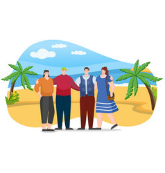 hikers or tourist on coastline with palm trees vector image