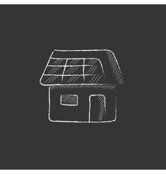 House with solar panel Drawn in chalk icon vector