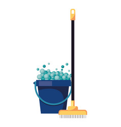 Housekepping bucket tool with brush broom vector