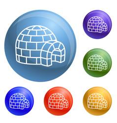 igloo icons set vector image
