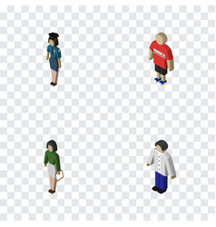 Isometric human set of male pedagogue vector