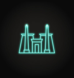 Karnak temple icon in glowing neon style vector