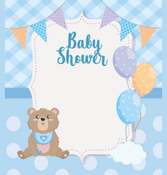 label party banner with teddy bear and balloons vector image