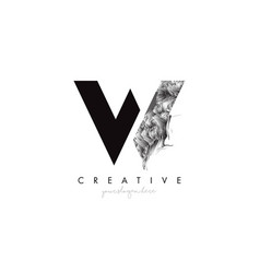 Letter w logo design icon with artistic grunge vector