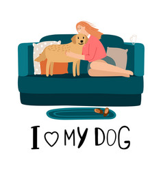 love my dog card vector image