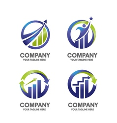 Marketing finance success logo set vector