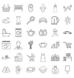 married life icons set outline style vector image