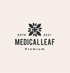 medical leaf hipster vintage logo icon vector image