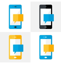 Mobile Notification Flat Icons Set vector image