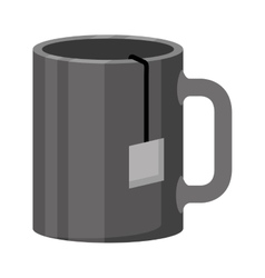 monochrome color of cup with tea closeup vector image
