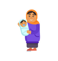 Muslim grandmother with kid vector