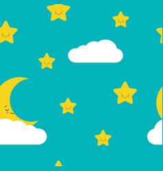 Night sky seamless pattern in cute stars moon vector