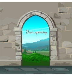 Old brick arch and natural landscape behind vector