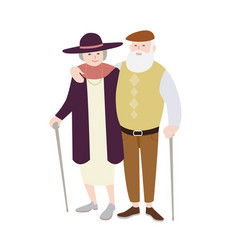 pair of old man and woman dressed in stylish vector image