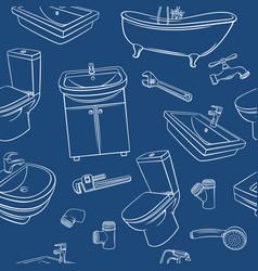 plumbing blu seamless pattern vector image