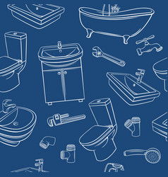 Plumbing blu seamless pattern vector